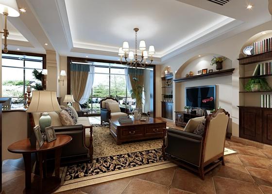 美式沙发椅子组合 美式客厅 茶几 台灯 角几 单人沙发 吊灯