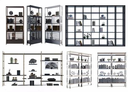 新中式博估架摆设组合 新中式装饰架 书架 摆件