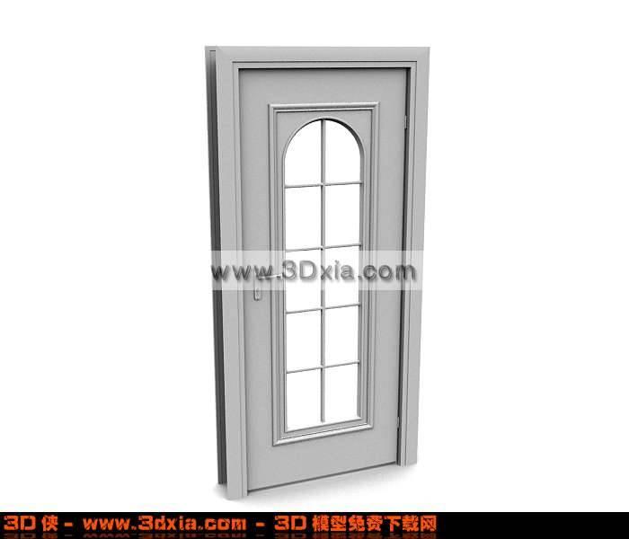 3D现代中式木质玻璃门模型