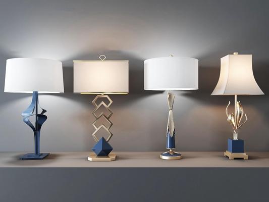 现代精美台灯组合3D模型