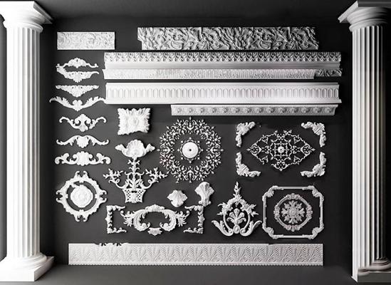 歐式雕花角線羅馬柱構件組合3D模型