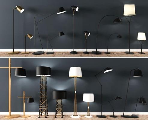 现代金属落地灯台灯组合3D模型