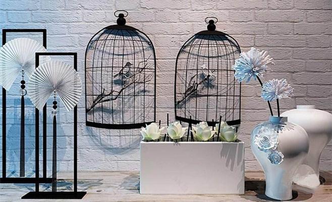 美式复古摆件装饰组合陈设品组合 花瓶 铁艺 复古 摆件 loft风格 壁饰 工艺品 美式工业风