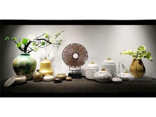 新中式陶瓷工艺品装饰摆件陈设品组合 新中式 陶瓷 装饰 模型 摆设 摆件 工艺品