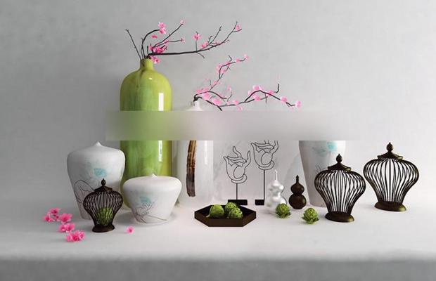 新中式花艺佛手干枝器皿陈设品模型 摆件 装饰品 花瓶 陶罐 新中式风格 瓷器工艺品