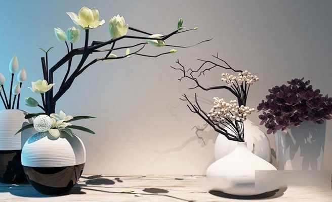 新中式摆件花艺器皿陈设品组合模型 摆件 装饰品 花瓶 陶罐 新中式风格 瓷器工艺品