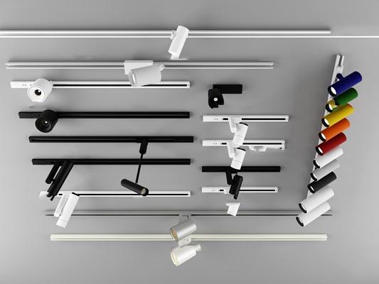 現代軌道射燈組合3D模型