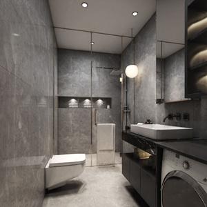 现代卫生间 现代卫浴 洗手台 马桶 淋浴间 洗衣机