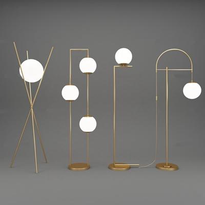 现代金属落地灯组合3D模型