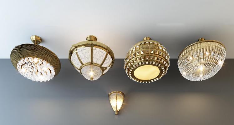 现代金属水晶吸顶灯组合3D模型
