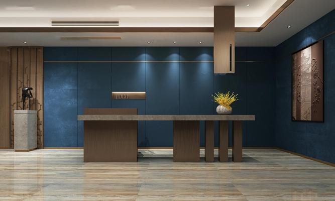 中式酒店前台3D模型