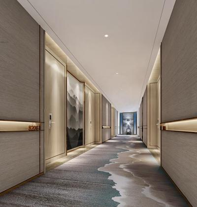 新中式酒店过道3D模型