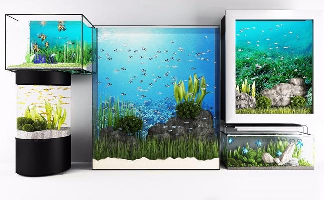 现代水族鱼缸组合3D模型