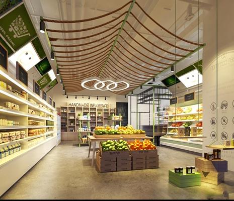 现代水果超市3D模型