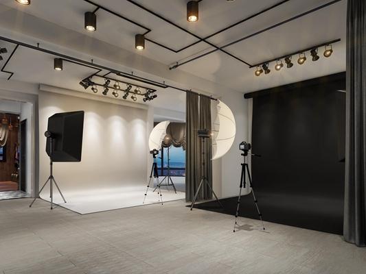 现代工业风摄影棚化妆间组合3D模型
