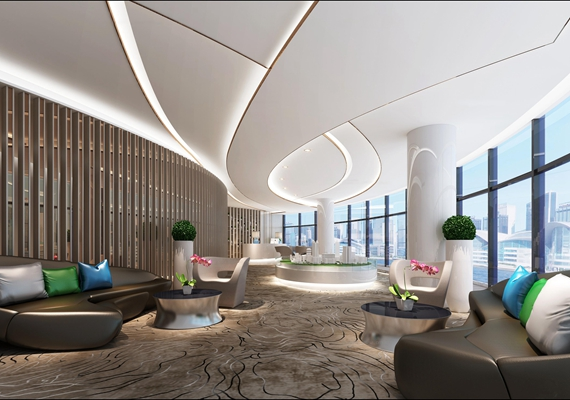 现代售楼部大厅3D模型