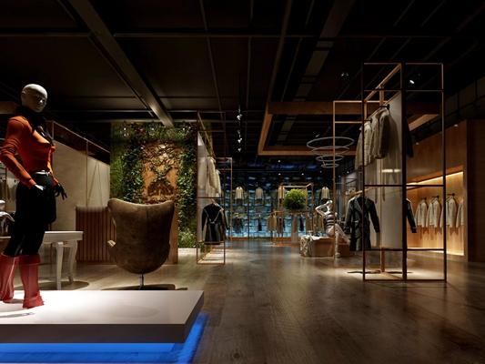 现代工业服装店3D模型
