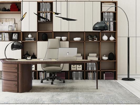现代办公书桌书柜组合3D模型