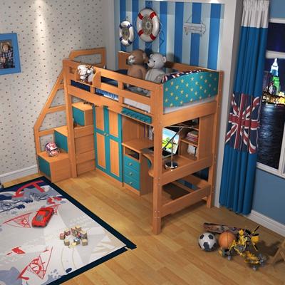美式小孩单人床摆件组合3d模型
