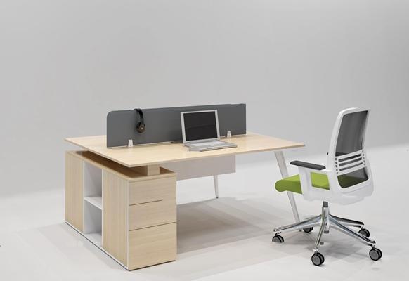 现代双人位办公桌椅组合3D模型