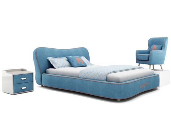 现代单人床床头柜沙发组合3D模型