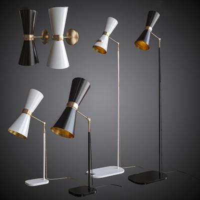 现代金属壁灯台灯落地灯组合3d模型