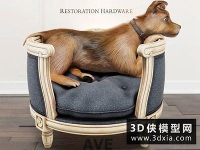 宠物床模型小狗模型