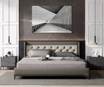 现代床具组合 现代双人床 床头柜 吊灯 挂画