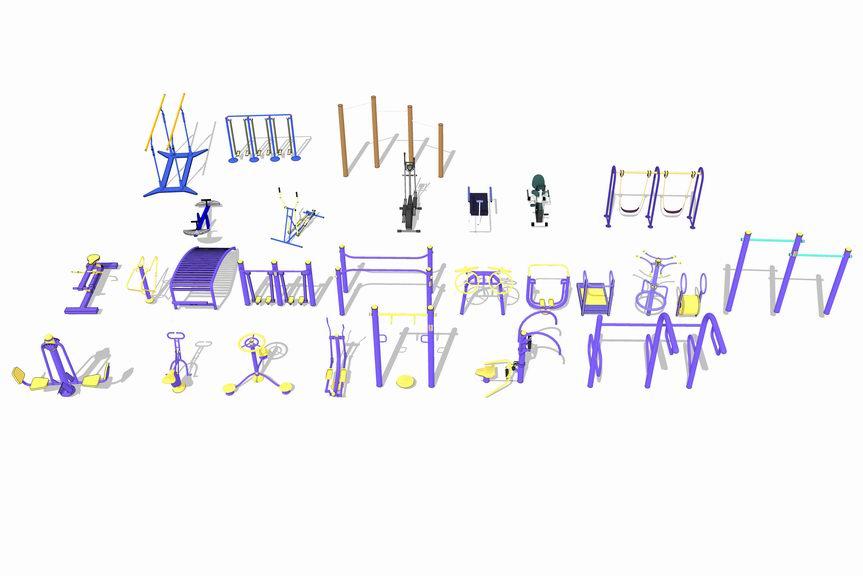 户外健身器材组合SU模型
