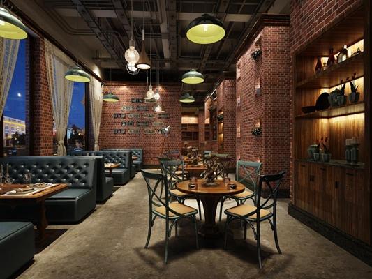 复古工业餐厅 工业风餐厅 餐桌椅 餐具 沙发 装饰柜 吊灯 墙饰