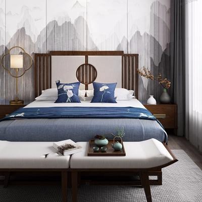 新中式床具 新中式双人床 双人床 床头柜 台灯 从 床尾凳 花艺
