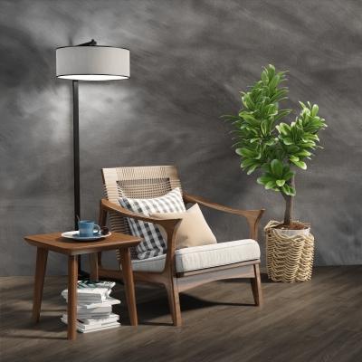北欧休闲椅方几盆栽落地灯组合3D模型