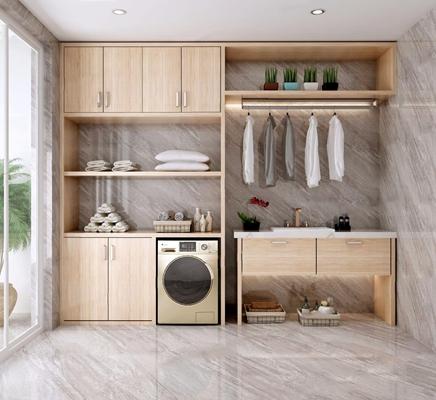 北欧现代洗衣房 北欧储物柜 洗衣房 阳台 洗衣机 衣服 衣架