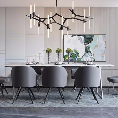 现代实木餐桌椅餐具吊灯组合3D模型
