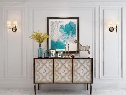 简美玄关柜 美式边柜 玄关柜 挂画 壁灯 摆件 花瓶 烛台