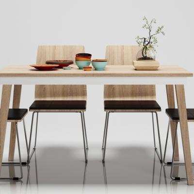 北欧餐桌椅摆件组合3D模型