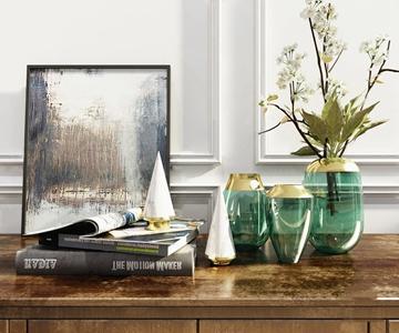 现代轻奢花瓶摆件 现代饰品摆件 花瓶 花卉 装饰画