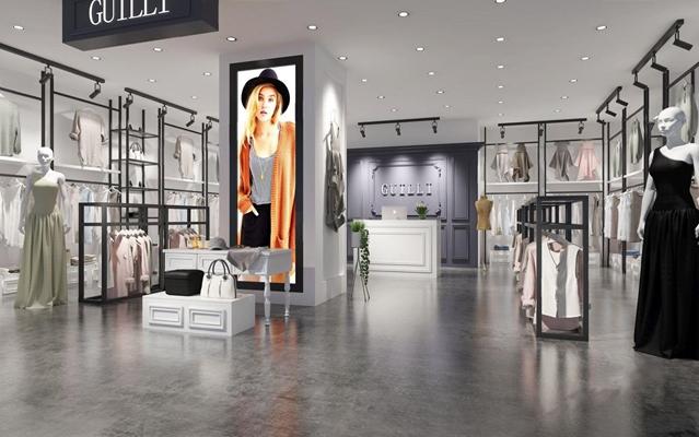 现代服装店 现代服装店 衣服 服装 衣架 模特 展示柜 收银台