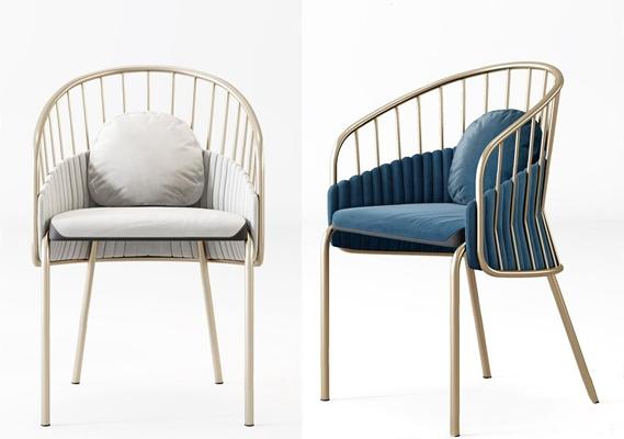 现代奢华椅子 现代休闲椅 椅子 单椅 金属椅 餐椅