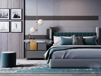 现代轻奢双人床组合 现代双人床 床头柜 凳子 地毯 挂画 吊灯