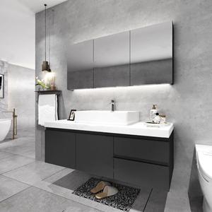 现代台盆柜 现代卫浴柜 台盆 马桶 毛巾架