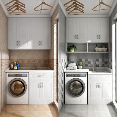美式生活阳台 美式阳台 生活阳台 洗衣机 吊柜 衣架洗衣机一体柜 洗手盆 龙头
