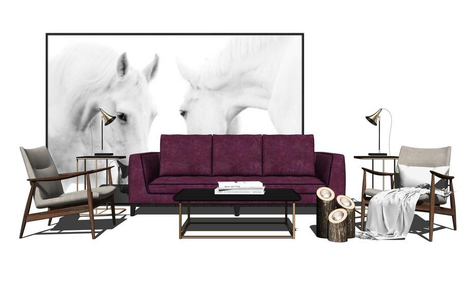 现代风格客厅沙发茶几组合SU模型