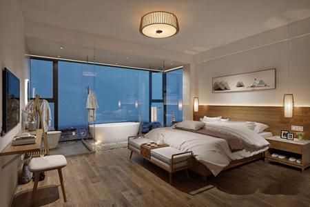 新中式民宿客房3d模型