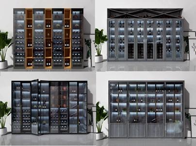 现代时尚玻璃酒柜 现代酒柜 玻璃酒柜 落地绿植 挂画