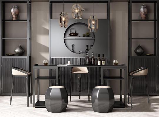 新中式酒柜吧台吧椅组合 新中式吧台 吧椅 酒柜 单头吊灯 壁柜 摆件