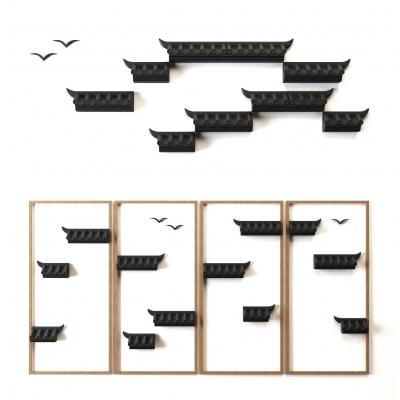 新中式屋檐立体墙面装饰3D模型