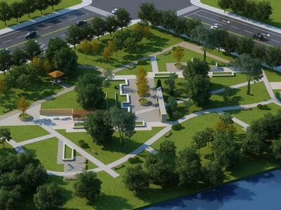 现代公园广场鸟瞰3d模型