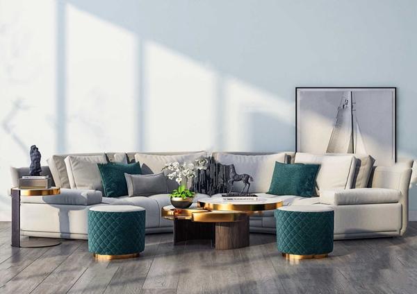 现代布艺弧形沙发组合3d模型