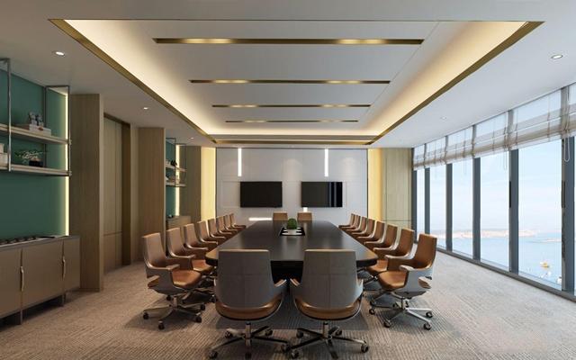 新中式会议室 新中式会议室 书架 会议桌 电脑椅 备餐台 背景墙